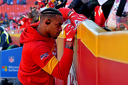 Jan 19, 2020; Kansas City, Missouri, USA; Kansas City Chiefs outside linebacker Damien Wilson (54) signs an autograph before the AFC Championship Game against the Tennessee Titans at Arrowhead Stadium. Mandatory Credit: Denny Medley-USA TODAY Sports