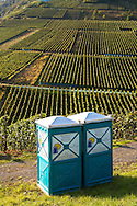 Europe, Germany, Rhineland-Palatinate, Eifel region, mobile toilets in the vineyards near Mayschoss at the river Ahr.<br />