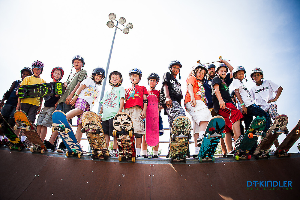 Young skateboarders at summer Ramp Camp.