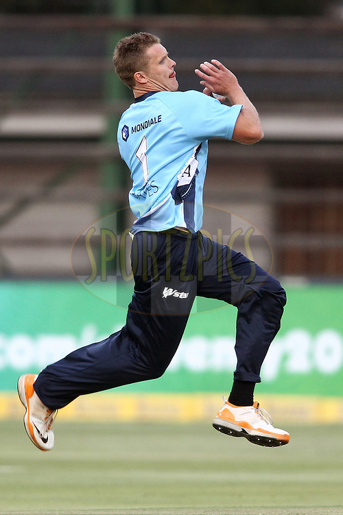 Michael Bates of the Auckland Aces sends down a delivery during 2nd Qualifying match of the Karbonn Smart CLT20 South Africa between Auckland Aces and Sialkot Stallions held at The Wanderers Stadium in Johannesburg, South Africa on the 9th October 2012..Photo by Shaun Roy/SPORTZPICS/CLT20