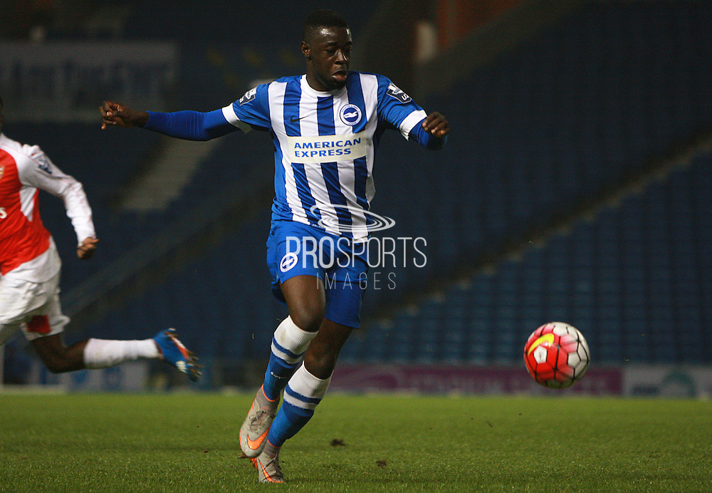 Brighton striker Daniel Akindayini during the Barclays U21 Premier League match between Brighton U21 and Arsenal U21 at the American Express Community Stadium, Brighton and Hove, England on 30 November 2015. Photo by Bennett Dean.