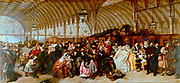 William Powell Frith (1819-19-9) English painter. 'The Railway Station', 1862 showing a crowded Paddington Station, London.