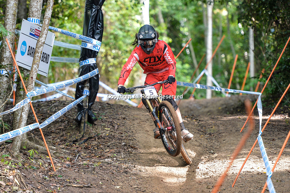 22.04.2016. Cairns,Australia. UCI Mountain Bike World Cup. Downhill qualifying. Josh Bryceland from Great Britain riding for Santa Cruz Syndicate during practice