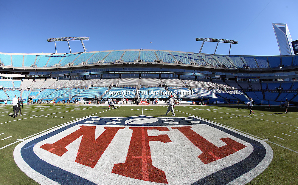 Interior general view of the NFL shield painted on the grass at Bank of America Stadium before the Carolina Panthers NFC Divisional Playoff NFL football game against the San Francisco 49ers on Sunday, Jan. 12, 2014 in Charlotte, N.C. ©Paul Anthony Spinelli