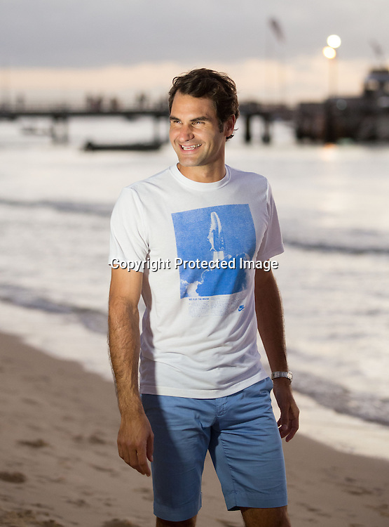 Roger Federer (SUI) im Tangalooma Resort.<br /> <br /> Tennis - Brisbane International 2015 - ATP 250 - WTA -  Queensland Tennis Centre - Brisbane - Queensland - Australia  - 6 January 2015.