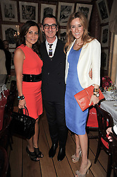Left to right, ELLA KRASNER, BRUNO FRISONI and REBECCA KORNER at a lunch hosted by Roger Viver in honour of Bruno Frisoni their creative director, held at Harry's Bar, 26 South Audley Street, London on 31st March 2011.