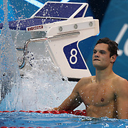 Florent Manaudou, France, winning the Gold Medal in the 50m Freestyle Final at the Aquatic Centre at Olympic Park,  during the London 2012 Olympic games. London, UK. 3rd August 2012. Photo Tim Clayton