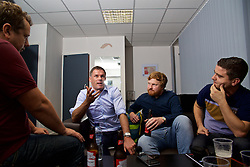 LIVERPOOL, ENGLAND - Friday, September 9, 2016: Former Liverpool player Jamie Carragher with author Simon Hughes and The Anfield Wrap's Andrew Heaton during the launch of Ring of Fire - Liverpool FC into the 21st century the players' story at Mountford Hall. (Pic by David Rawcliffe/Propaganda)