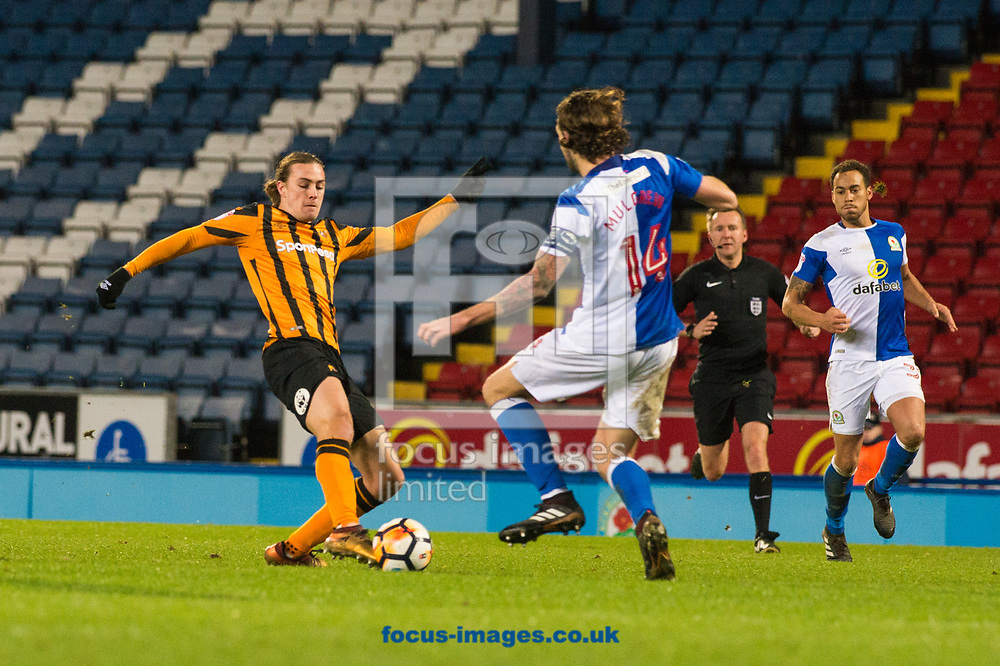 Jackson Irvine of Hull City looks to find a way past Charlie Mulgrew of Blackburn Rovers during the FA Cup match at Ewood Park, Blackburn<br /> Picture by Matt Wilkinson/Focus Images Ltd 07814 960751<br /> 06/01/2018