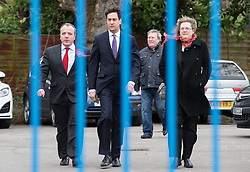 © Licensed to London News Pictures . 14/02/2014 . Manchester , UK . L-R Winning candidate Mike Kane , Labour Party Ed Miliband and Sandra Bracegirdle (Mike Kane's wife) arrive . The Labour Party hold a victory event to celebrate their win in the Wythenshawe and Sale East by-election at Wythenshawe Sports Club this morning (14th February 2014) . Photo credit : Joel Goodman/LNP