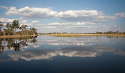 Clouds reflected on water, Okavango Delta, Botswana