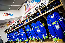 Jerseys of Blaz Gregorc of Slovenia, Matic Podlipnik of Slovenia, Jurij Repe of Slovenia and Andrej Tavzelj of Slovenia in Dressing room of Team Slovenia at the 2017 IIHF Men's World Championship, on May 11, 2017 in AccorHotels Arena in Paris, France. Photo by Vid Ponikvar / Sportida