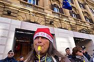 Roma, 22 Dicembre 2014<br /> Manifestazione di lavoratori della sanità, a rischio licenziamento dell' Aurelia Hospital, della European Hospital e della casa di Cura Città di Roma. Circa 160 lavoratori saranno licenziati e altri 2000 lavoratori rischiano il licenziamento perchè la Regione Lazio ha tagliato i fondi per le prestazioni salvavita.I lavoratori fanno il funerale alla sanità davanti al Ministero dell'Economia e delle Finanze.<br /> Rome, December 22, 2014<br /> Demonstration by health workers, at risk of dismissal of the Aurelia Hospital, the European Hospital and Home Care City of Rome. About 160 workers will be laid off and another 2000 workers risk dismissal because the Lazio Region has cut funds for life-saving performance. The workers make the funeral to the Health in front of the Ministry of Economy and Finance.