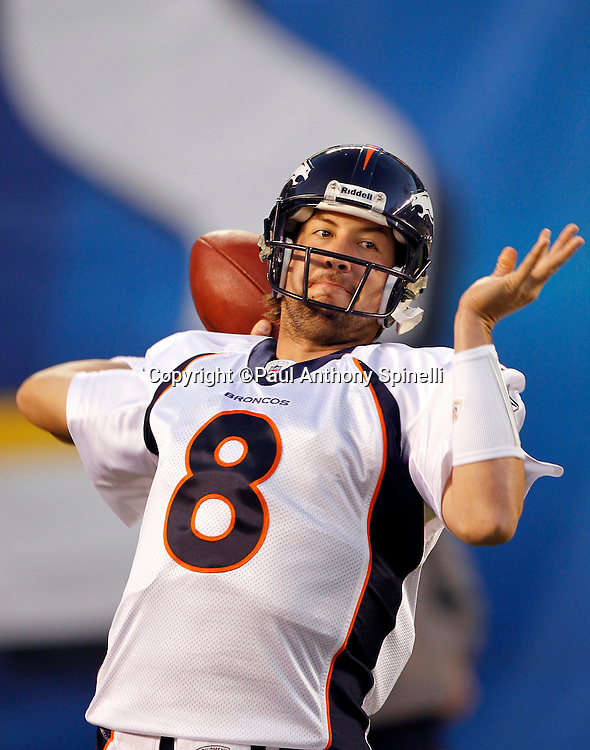 Denver Broncos quarterback Kyle Orton (8) throws a pregame pass during the NFL week 11 football game against the San Diego Chargers on Monday, November 22, 2010 in San Diego, California. The Chargers won the game 35-14. (©Paul Anthony Spinelli)