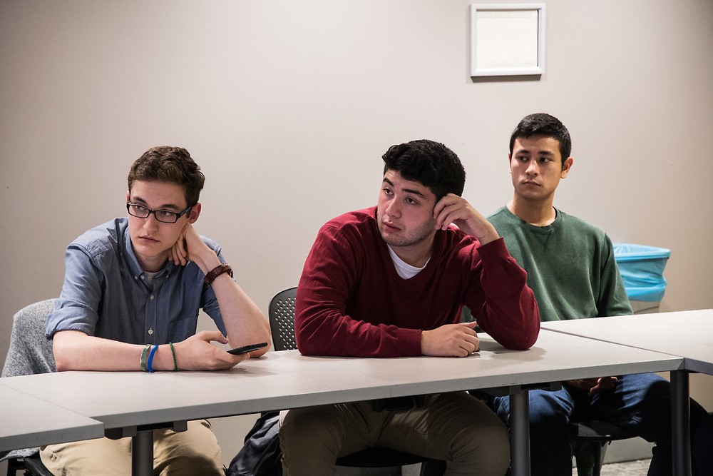 11/07/2017 - Medford/Somerville, MA - <br /> Members of the Tufts Republicans discuss Virginia's governor election results in Campus Center 012 on Nov. 07. 2017 (Mike Feng / The Tufts Daily)