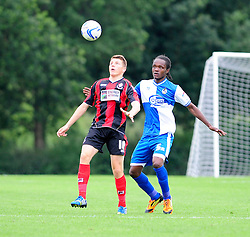 Bristol Rovers' U18s Trey Anderson closes down his opponent  - Photo mandatory by-line: Dougie Allward/JMP - Tel: Mobile: 07966 386802 17/08/2013 - SPORT - FOOTBALL - Bristol Rovers Training Ground - Friends Life Sports Ground - Bristol - Academy - Under 18s - Youth - Bristol Rovers U18s V Bournemouth U18s