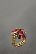 Ring, consisting of 3 square profile rings in yellow gold with rubies and diamonds, from the Eboulis Collection, by Thierry Vendome, jeweller, Paris, France. In this latest collection, the shapes and rhythms of the stones themselves have inspired the design of the modular rings, with organic, gravity-defying flow. Picture by Manuel Cohen