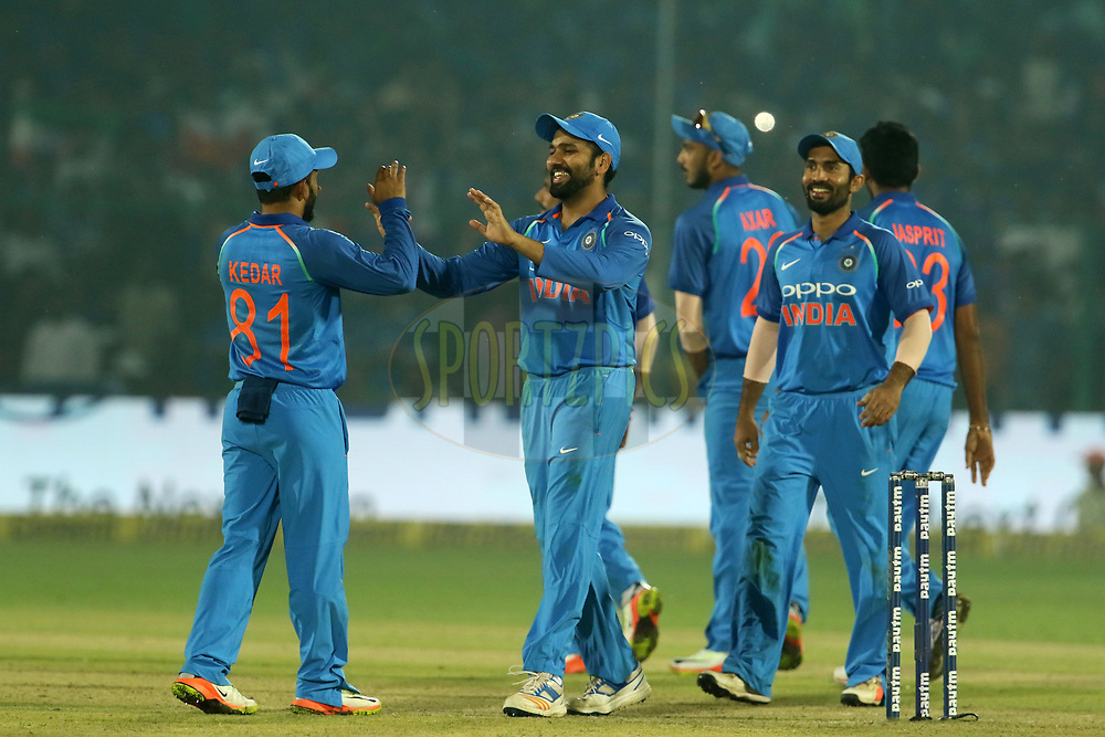 India players celebrates the wicket of Ross Taylor of New Zealand during the 3rd One Day International match between India and New Zealand held at the Green Park stadium in Kanpur. 29th October 2017<br /> <br /> Photo by Vipin Pawar / BCCI / SPORTZPICS