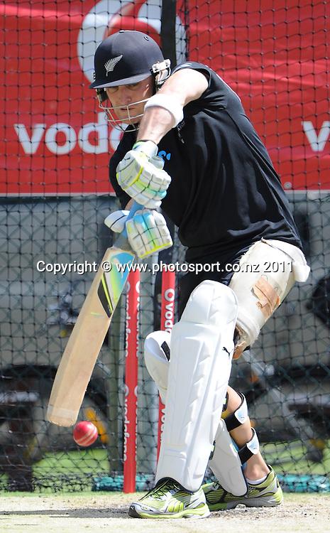 New Zealand batsman Brendon McCullum ahead of the first cricket test in Brisbane tomorrow. Wednesday 30 November 2011. Photo: Andrew Cornaga/Photosport.co.nz