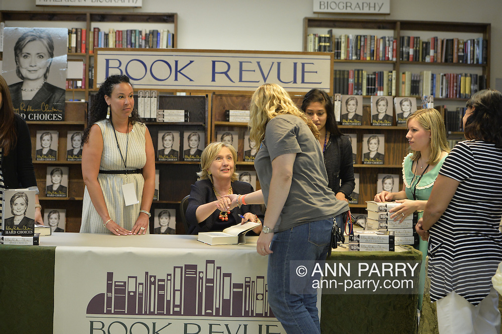 Sue Moller, of Merrick, at book signing for Hillary Rodham Clinton's new memoir, Hard Choices, at Book Revue in Huntington, Long Island. Clinton's book is about her four years as America's 67th Secretary of State and how they influence her view of the future.