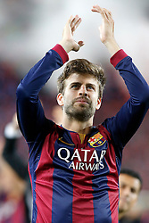 30.05.2015, Camp Nou, Barcelona, ESP, Copa del Rey, Athletic Club Bilbao vs FC Barcelona, Finale, im Bild FC Barcelona's Gerard Pique celebrates the victory // during the final match of spanish king's cup between Athletic Club Bilbao and Barcelona FC at Camp Nou in Barcelona, Spain on 2015/05/30. EXPA Pictures © 2015, PhotoCredit: EXPA/ Alterphotos/ Acero<br /> <br /> *****ATTENTION - OUT of ESP, SUI*****