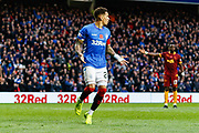 James Tavernier of Rangers dispatched the penalty but referee Craig Thomson demands it is retaken during the Ladbrokes Scottish Premiership match between Rangers and Motherwell at Ibrox, Glasgow, Scotland on Sunday 11th November 2018.