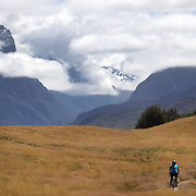 Competitors in action during the cycle leg of the Paradise Triathlon and Duathlon series with breathtaking views of Mount Aspiring National Park, Paradise, Glenorchy, South Island, New Zealand. 18th February 2012. Photo Tim Clayton