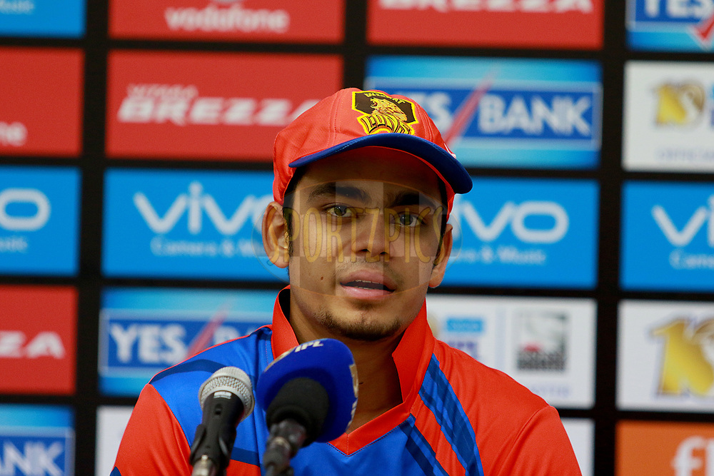 Ishan Kishan of GL at the press conference after  match 35 of the Vivo 2017 Indian Premier League between the Gujarat Lions and the Mumbai Indians  held at the Saurashtra Cricket Association Stadium in Rajkot, India on the 29th April 2017<br /> <br /> Photo by Rahul Gulati - Sportzpics - IPL