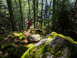 Man hiking in the Black Forest on narrow footpath, Baden-Wuerttemerg, Germany