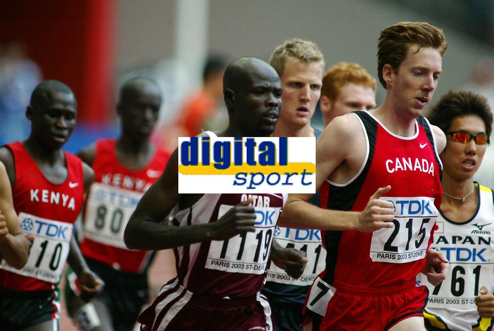 Athletics, 23. august 2003, VM Paris, World Championship in Athletics,   Matthew Kerr, Canada, og  Khamis Abdullah Saifeldin  på 300 meter hinder