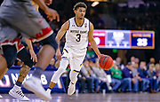 SOUTH BEND, IN - JANUARY 12: Prentiss Hubb #3 of the Notre Dame Fighting Irish brings the ball up court during the game against the Boston College Eagles at Purcell Pavilion on January 12, 2019 in South Bend, Indiana. (Photo by Michael Hickey/Getty Images) *** Local Caption *** Prentiss Hubb