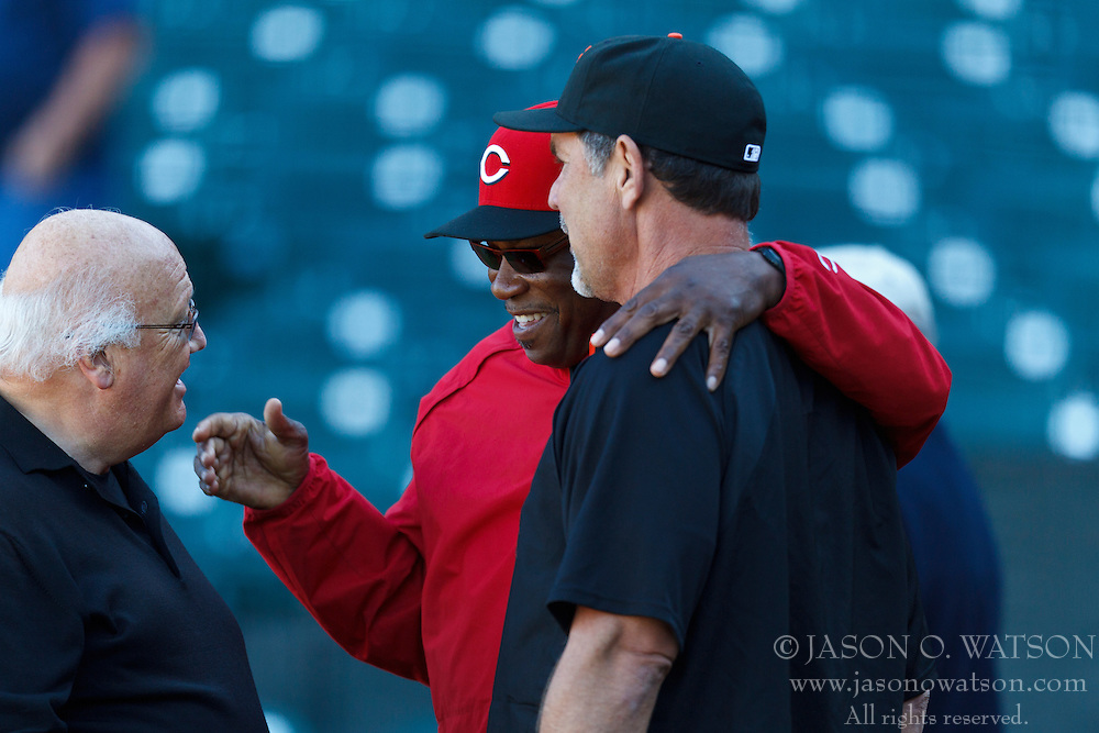 SAN FRANCISCO, CA - JUNE 28: Dusty Baker #12 of the Cincinnati Reds (center) talks to broadcaster Jon Miller (left) and Bruce Bochy #15 of the San Francisco Giants before the game at AT&T Park on June 28, 2012 in San Francisco, California. The San Francisco Giants defeated the Cincinnati Reds 5-0. (Photo by Jason O. Watson/Getty Images) *** Local Caption *** Dusty Baker; Bruce Bochy; Jon Miller