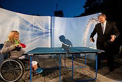 Andreja Dolinar and Danilo Tuerk, president of Slovenia during presentation of Slovenian Olympic and Paralympic team for London 2012, on July 6, 2012 in Ljubljana's Castle, Ljubljana, Slovenia.  (Photo by Vid Ponikvar / Sportida.com)