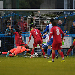 TELFORD COPYRIGHT MIKE SHERIDAN Riccardo Calder of Telford clears off the line during a goalmouth scramble during the Buildbase FA Trophy 3Q fixture between Guiseley and AFC Telford United at Nethermoor Park on Saturday, November 23, 2019.<br /> <br /> Picture credit: Mike Sheridan/Ultrapress<br /> <br /> MS201920-031