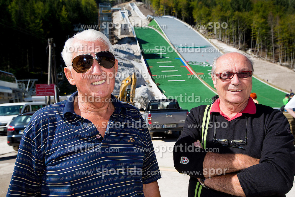 Lojze Gorenc and Mitja Letnar at media day of Slovenian Ski jumping team during construction of two new ski jumping hills HS 135 and HS 105, on September 18, 2012 in Planica, Slovenia. (Photo By Vid Ponikvar / Sportida)