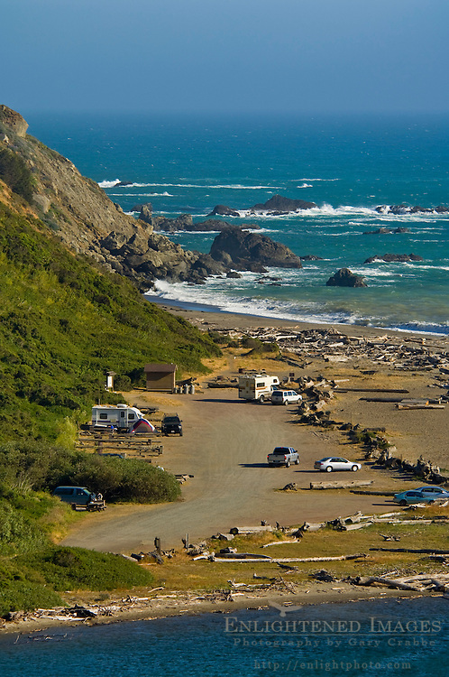 Coast and beach access at the mouth of the Navarro River Mendocino County, California