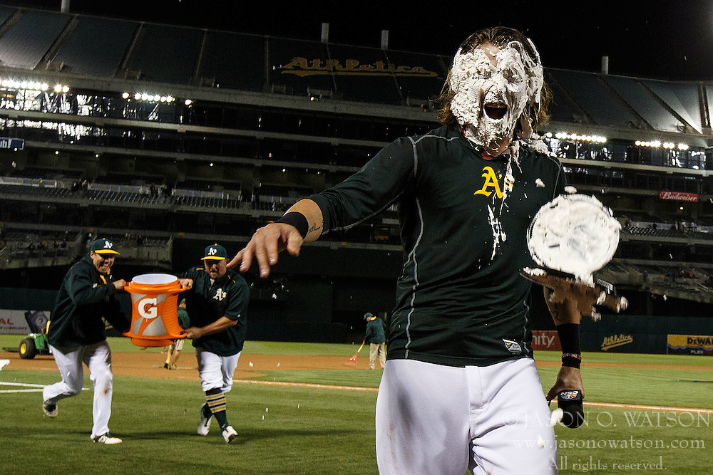 OAKLAND, CA - JULY 19:  Josh Reddick #22 of the Oakland Athletics reacts after getting his with pie in the face after the game against the Houston Astros at the Oakland Coliseum on July 19, 2016 in Oakland, California. The Oakland Athletics defeated the Houston Astros 4-3 in 10 innings.  (Photo by Jason O. Watson/Getty Images) *** Local Caption *** Josh Reddick