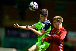 ALTRINGHAM, ENGLAND - Friday, March 10, 2017: Liverpool's Driscoll-Glennon in action against Manchester United's George Tanner during an Under-18 FA Premier League Merit Group A match at Moss Lane. (Pic by David Rawcliffe/Propaganda)