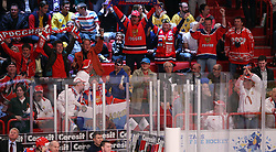 11.05.2012, Ericsson Globe, Stockholm, SWE, IIHF, Eishockey WM, Russland (RUS) vs Schweden (SWE), im Bild the russian crowd cerlabrates the 3-3 goal by Russia 74 Alexei Yemelin (Montreal Canadians) // during the IIHF Icehockey World Championship Game between Russia (RUS) and Sweden (SWE) at the Ericsson Globe, Stockholm, Sweden on 2012/05/11. EXPA Pictures © 2012, PhotoCredit: EXPA/ PicAgency Skycam/ Morten Christensen..***** ATTENTION - OUT OF SWE *****