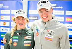 Anamarija Lampic and her brother Janez Lampic during press conference of Slovenian Nordic XC team before FIS Nordic World Ski Championship Lahti 2017, on February 14, 2016 in SZS, Ljubljana, Slovenia. Photo by Vid Ponikvar / Sportida