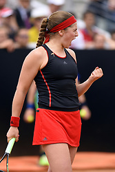May 17, 2018 - Rome, Rome, Italy - 16th May 2018, Foro Italico, Rome, Italy; Italian Open Tennis; Jelena Ostapenko (LAT) during her match against Johanna Konta (GBR)  Credit: Giampiero Sposito/Pacific Press  (Credit Image: © Giampiero Sposito/Pacific Press via ZUMA Wire)