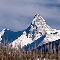 snow covered mount st nickolas, glacier national park, montana