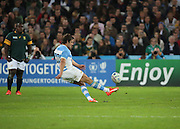 Argentina's Captain Nicolas Sanchez kicking a penalty to try and put some points on the board during the Rugby World Cup Bronze Final match between South Africa and Argentina at the Queen Elizabeth II Olympic Park, London, United Kingdom on 30 October 2015. Photo by Matthew Redman.