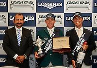 Miguel Angel Palmer, director de Longines España, Conor Swail, ganador del trofeo Longines y Sergio Alvarez, español mejor clasificado