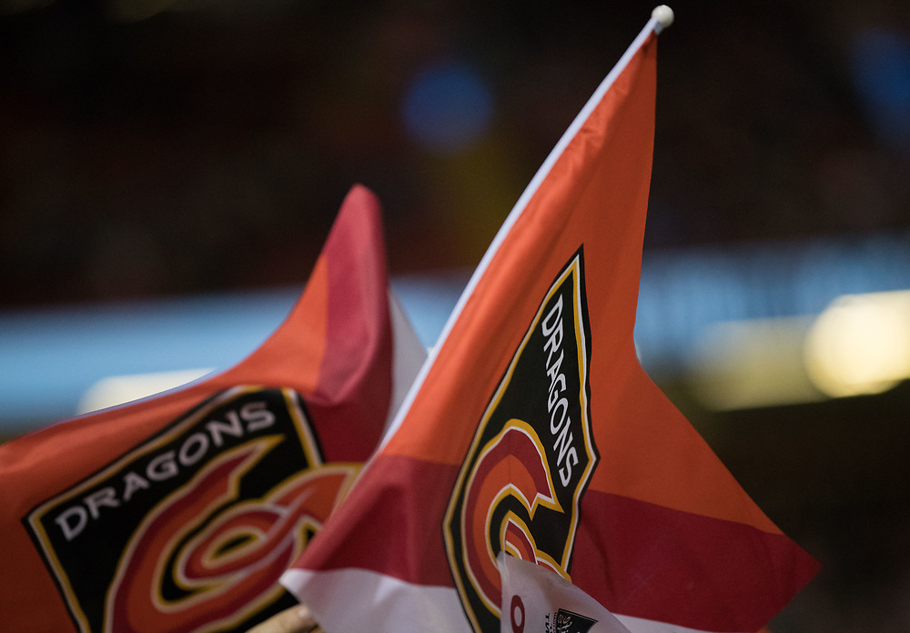 Dragons banner, flag<br /> <br /> Photographer Simon King/Replay Images<br /> <br /> Guinness PRO14 Round 21 - Dragons v Scarlets - Saturday 28th April 2018 - Principality Stadium - Cardiff<br /> <br /> World Copyright © Replay Images . All rights reserved. info@replayimages.co.uk - http://replayimages.co.uk