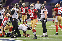 3 February 2013: Defensive tackle (91) Ray McDonald of the San Francisco 49ers celebrates after sacking (5) Joe Flacco of the Baltimore Ravens during the first half of the Ravens 34-31 victory over the 49ers in Superbowl XLVII at the Mercedes-Benz Superdome in New Orleans, LA.