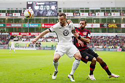 16.04.2016, BayArena, Leverkusen, GER, 1. FBL, Bayer 04 Leverkusen vs Eintracht Frankfurt, 30. Runde, im Bild Karim Bellarabi (Bayer 04 Leverkusen #38) im Zweikampf gegen Haris Seferovic (Eintracht Frankfurt #9) // during the German Bundesliga 30th round match between Bayer 04 Leverkusen and Eintracht Frankfurt at the BayArena in Leverkusen, Germany on 2016/04/16. EXPA Pictures © 2016, PhotoCredit: EXPA/ Eibner-Pressefoto/ Schüler<br /> <br /> *****ATTENTION - OUT of GER*****