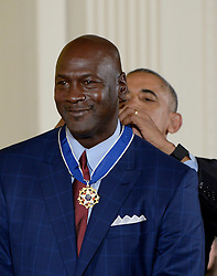 US President Barack Obama presents vocalist and musician Michael Jordan with the Presidential Medal of Freedom, the nation's highest civilian honor, during a ceremony honoring 21 recipients, in the East Room of the White House in Washington, DC, November 22, 2016. Photo by Olivier Douliery/ABACA