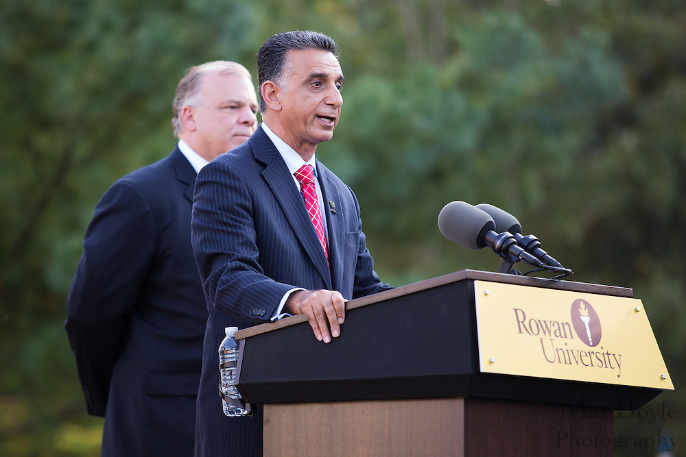 Rowan University University President Ali Houshmand speaks at the Rowan Hall Expansion Groundbreaking as NJ State Senate President Steve Sweeney listens in the background at Rowan University  in Glassboro, NJ on Wednesday October 2, 2013. (photo / Mat Boyle)