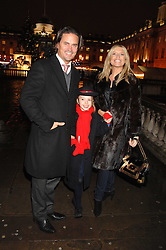 Actress TINA HOBLEY, her daughter ISABELLA and her husband OLIVER WHEELER at a Winter Party to celebrate the opening of the Ice Rink at Somerset House, London in association with jewellers Tiffany on 20th November 2007.<br />